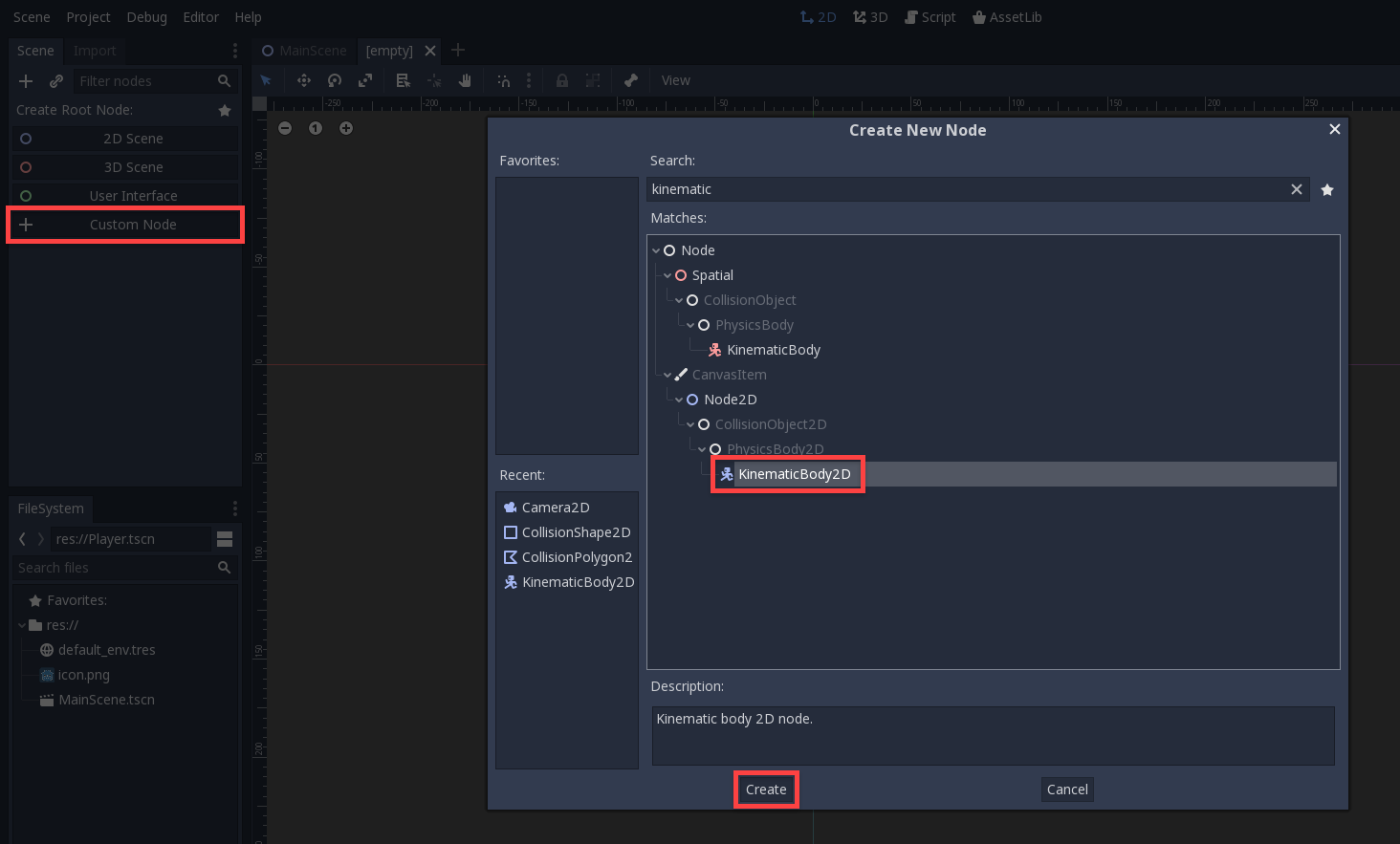 Godot Create New Node window with KinematicBody2D selected