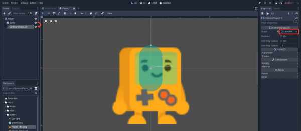 Capsule collision shape added to 2D sprite in Godot