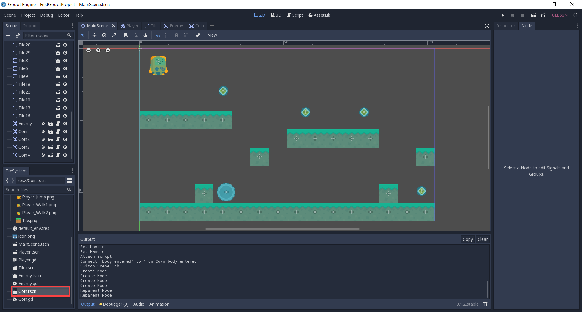 Godot with Coin added to 2D platformer level