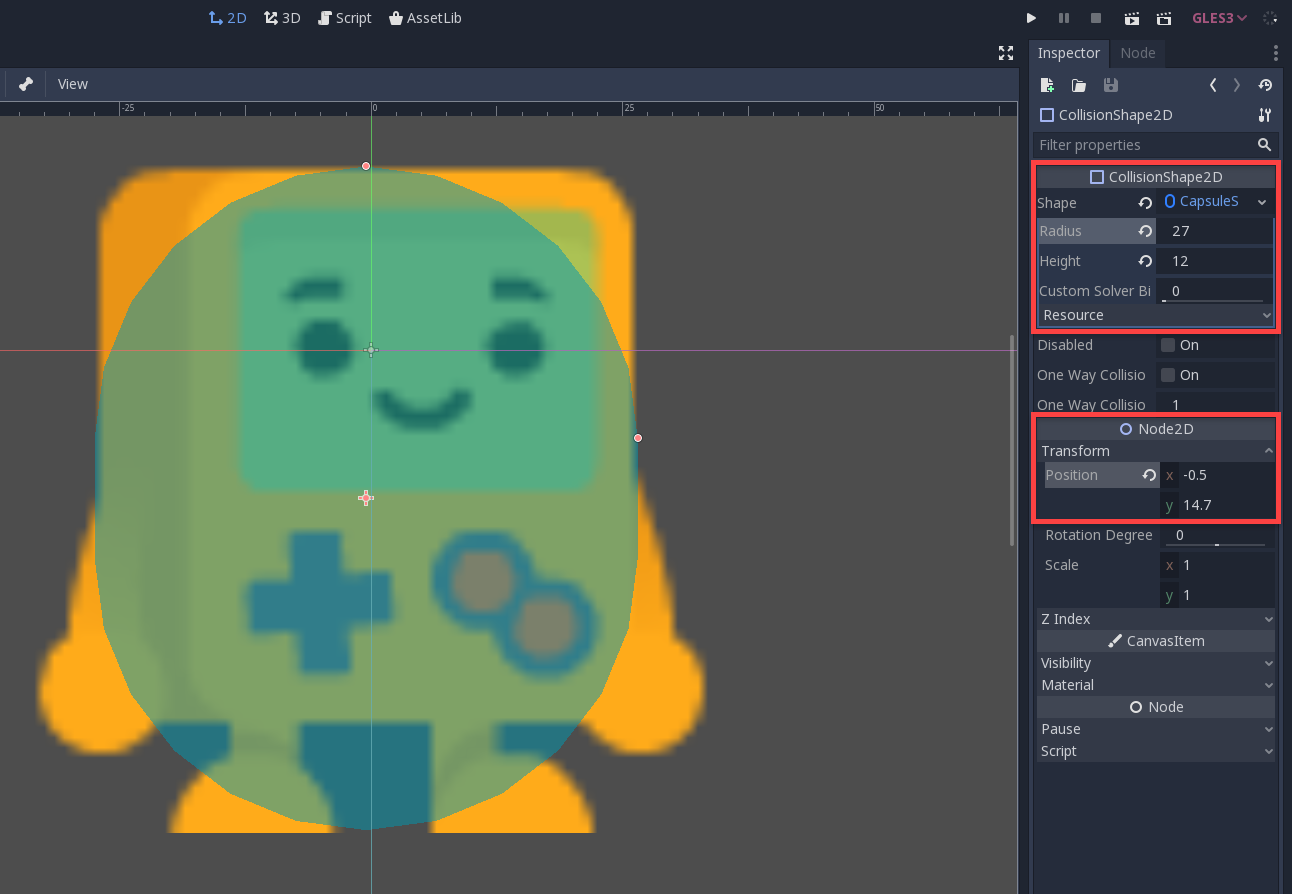 Collision Shape 2D resized to fit sprite in Godot