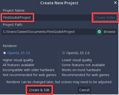 Godot Create New Project window with
