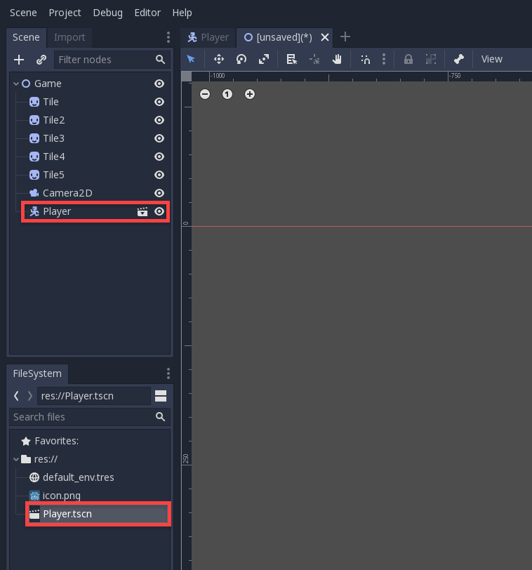 Godot Scene hierarchy with Player selected and shown in FileSystem window