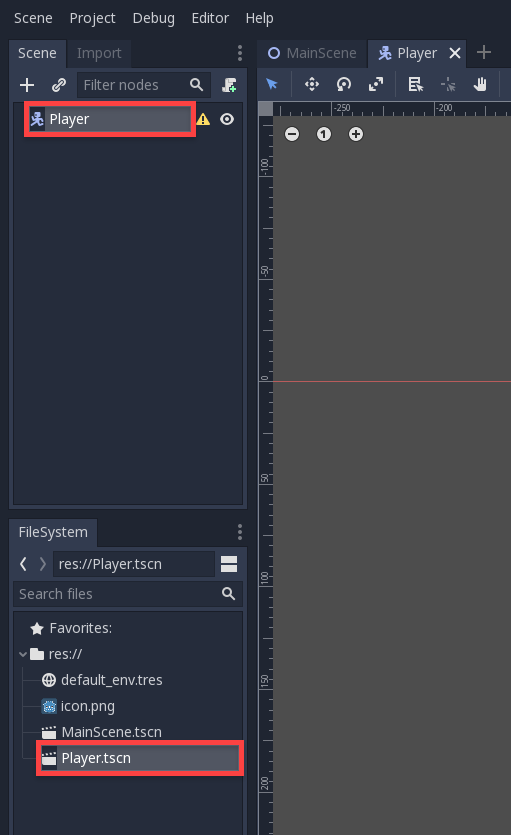 Godot Player Node in left hand windows