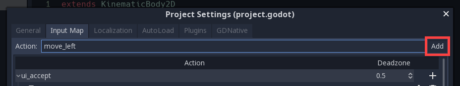 Godot Project Settings with move_left action added