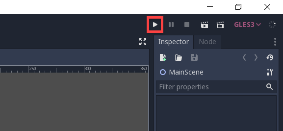 Godot engine with play button circled in top right