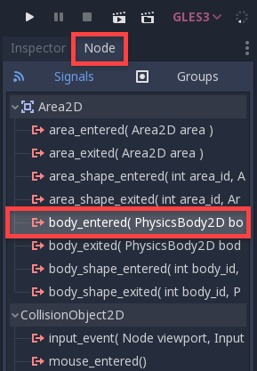 Godot Node Window with body_entered option selected