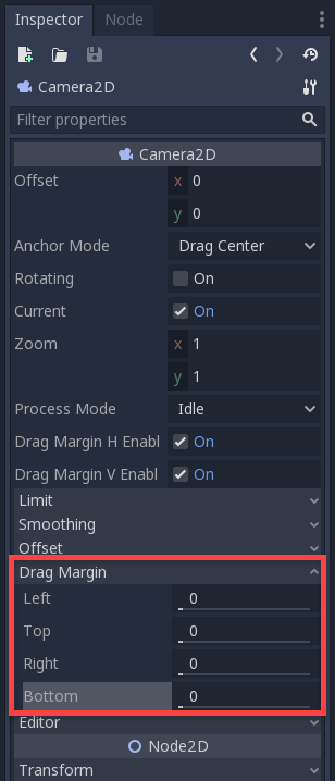 Godot Inspector with Drag Margin circled for Camera2D