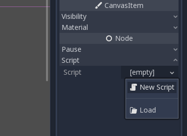 Godot Node window with New Script option selected for Script