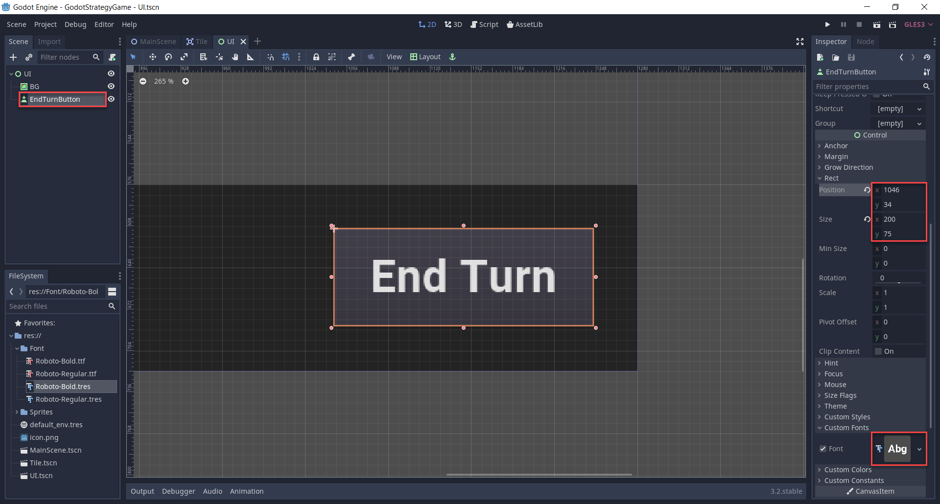 Creating the end turn button.