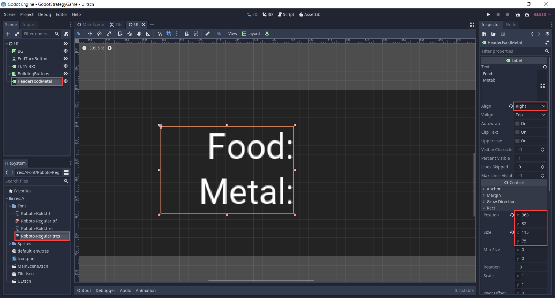 Creating the resource header text for food and metal.