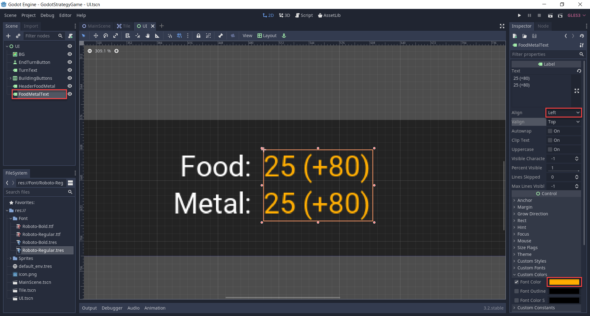 Creating the resource values for the food and metal.