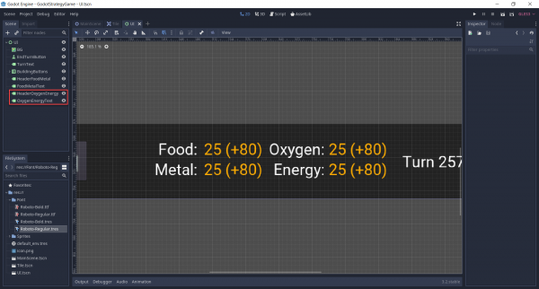 Duplicating the resource header and value labels for oxygen and energy.