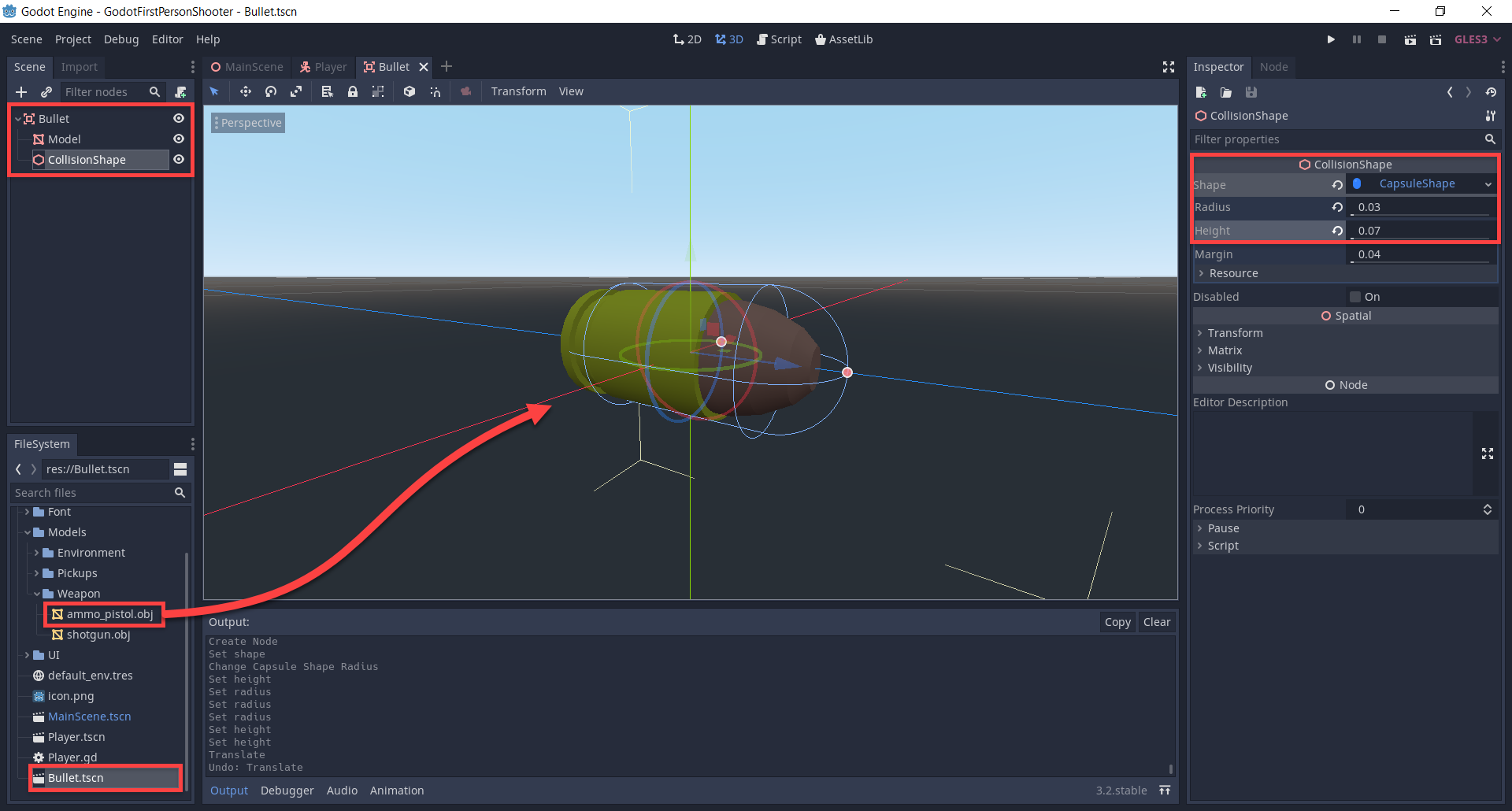 Bullet node in Godot with collision shape