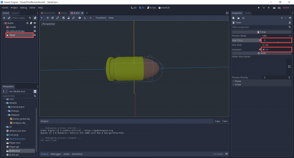 Bullet object in Godot with setting in Inspector