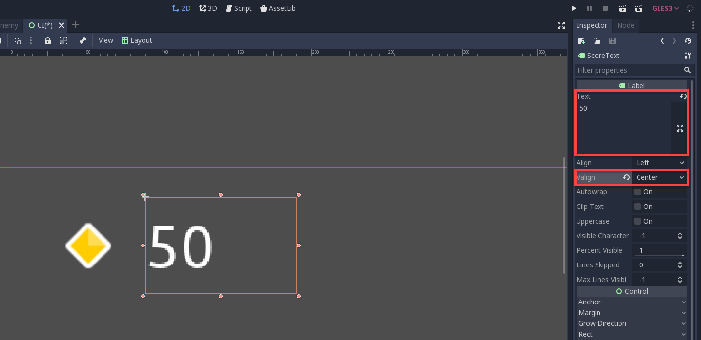 Godot with 50 displayed for UI score text