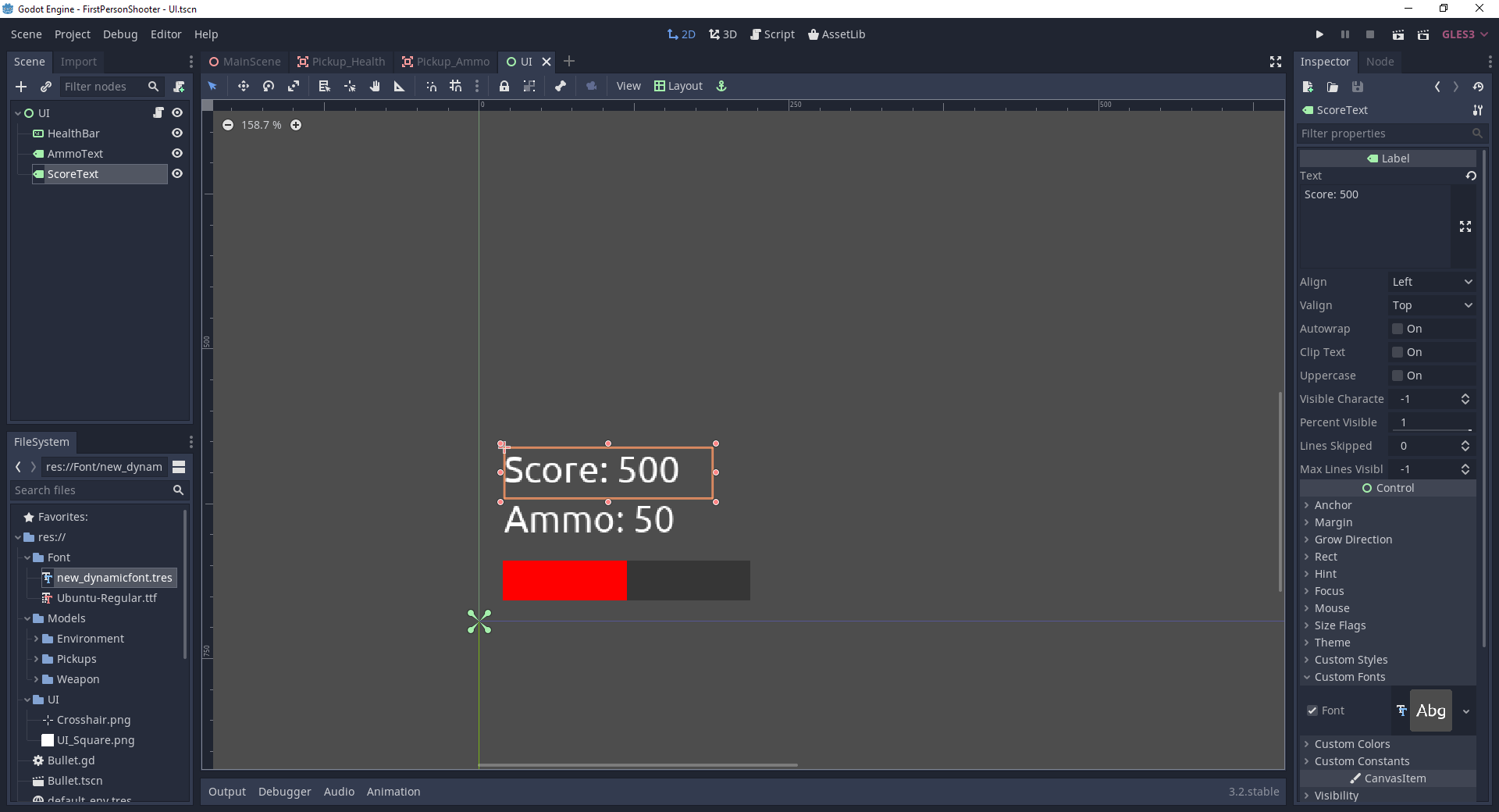 Score UI text added in FPS Godot game