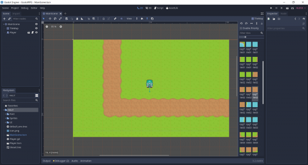 Godot 2D RPG project with Tilemap painted on