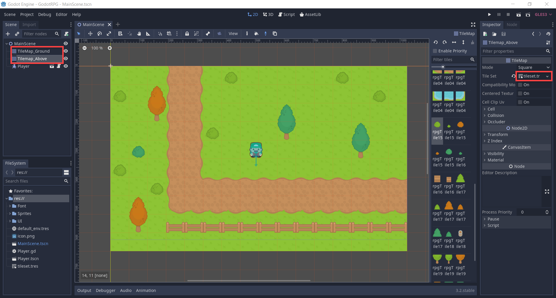 Godot Tilemap with extra layer added for objects above the ground