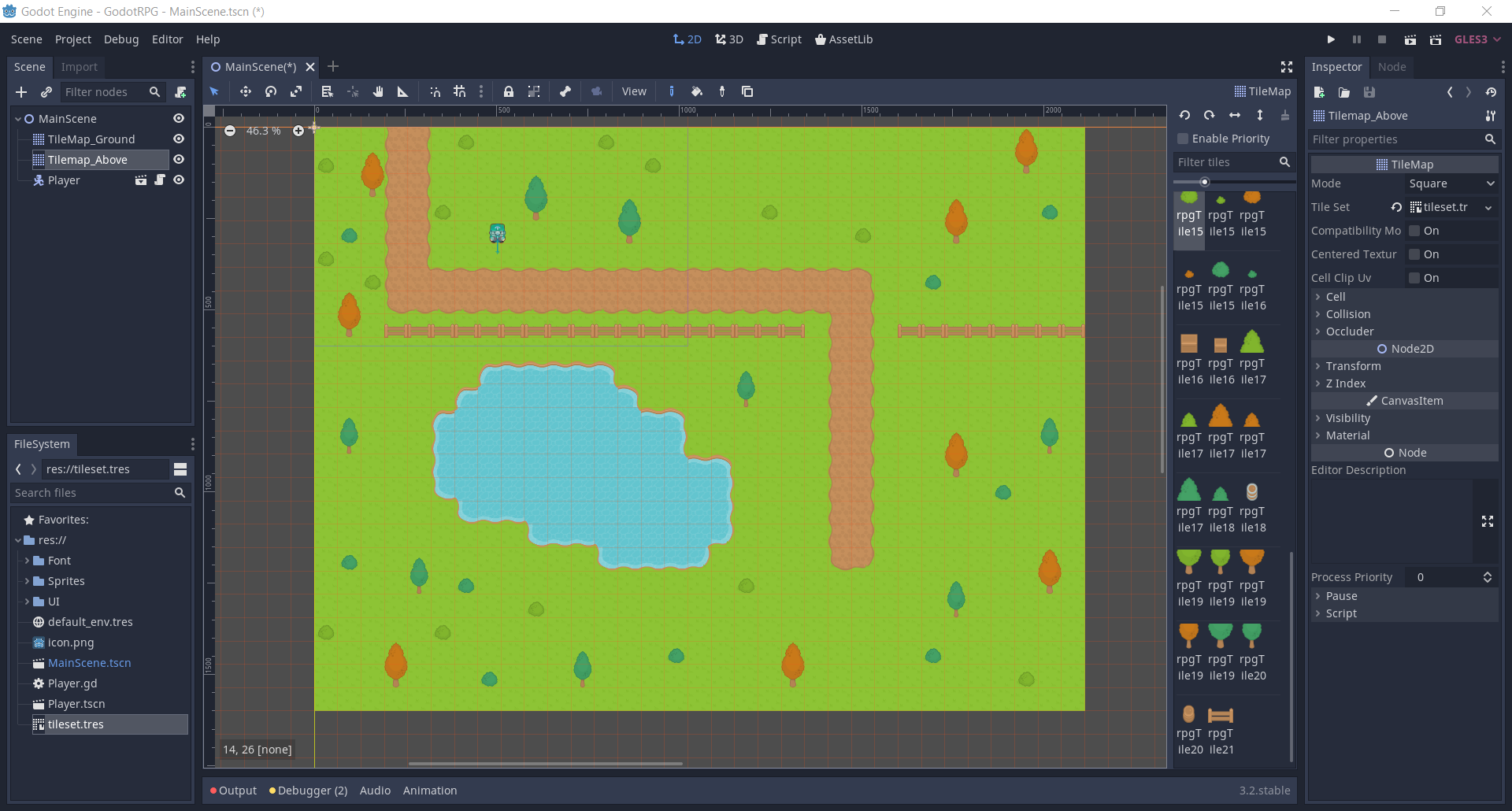 Godot 2D RPG project with player and completed tilemap