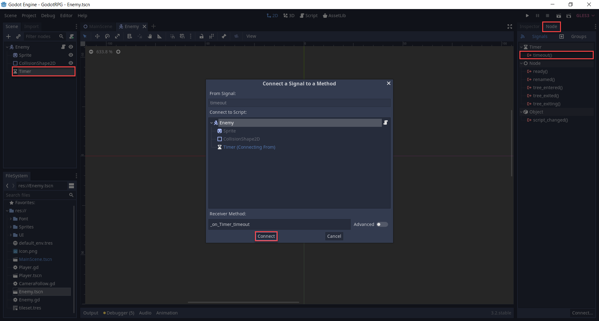 Godot Timer's Connect a Signal to a Method window