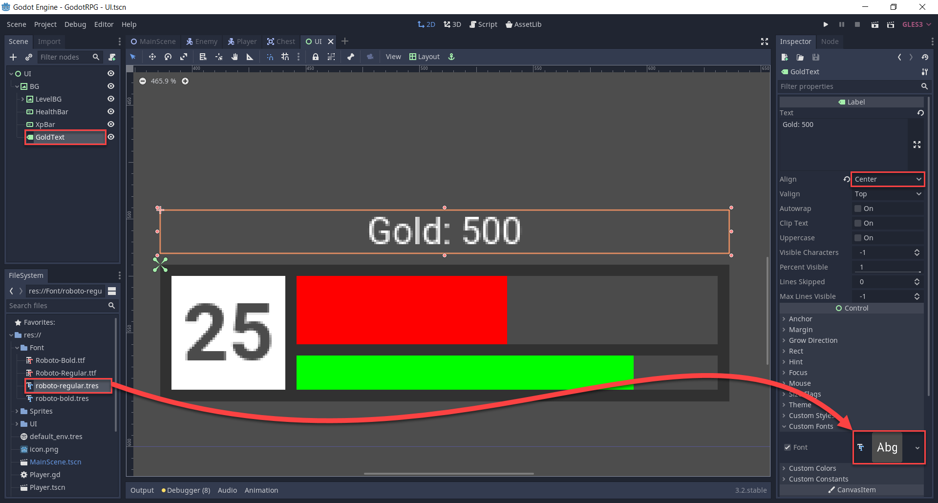 Godot UI with Text for gold amount added
