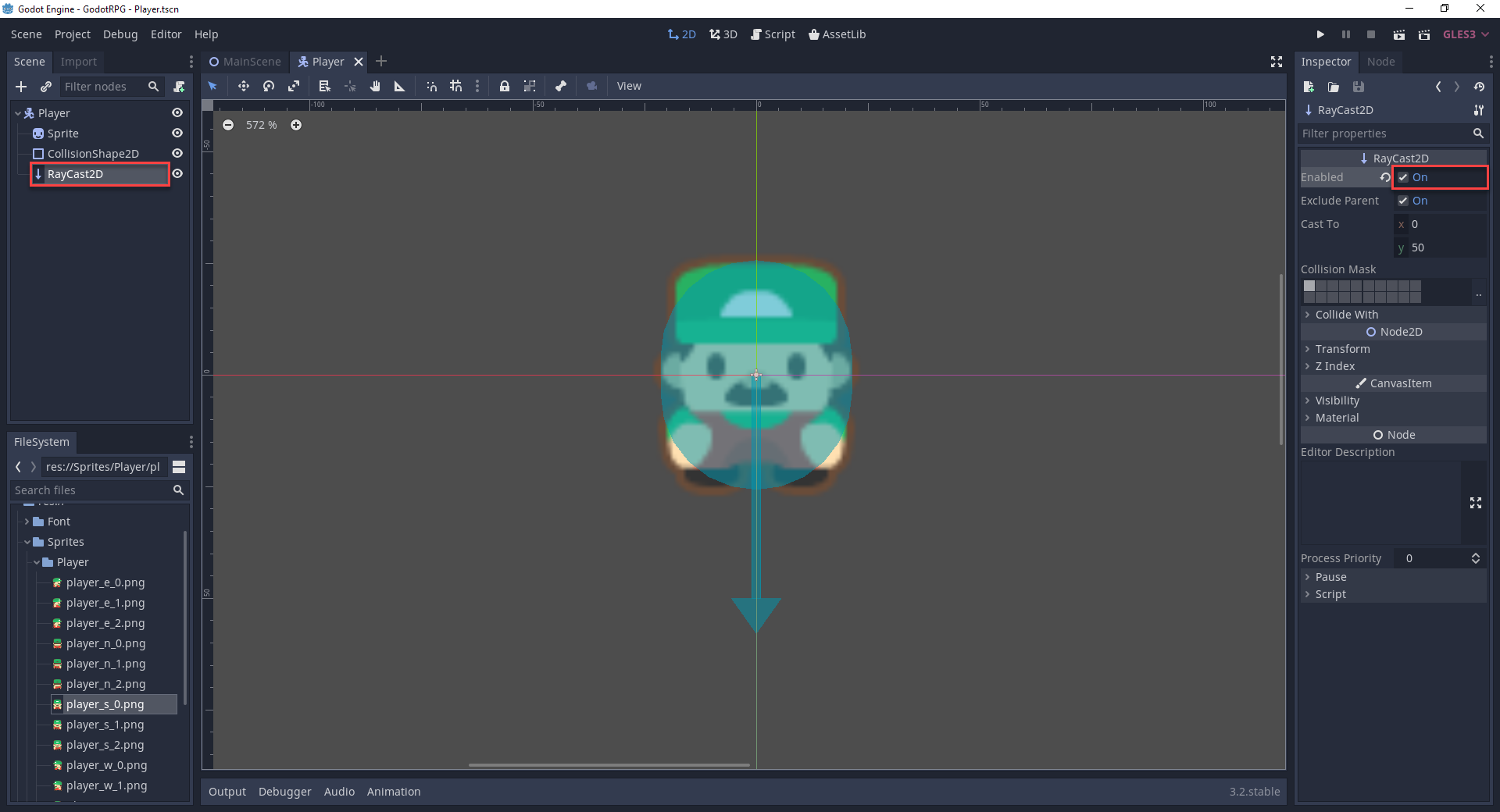 2D character sprite in Godot with RayCast2D
