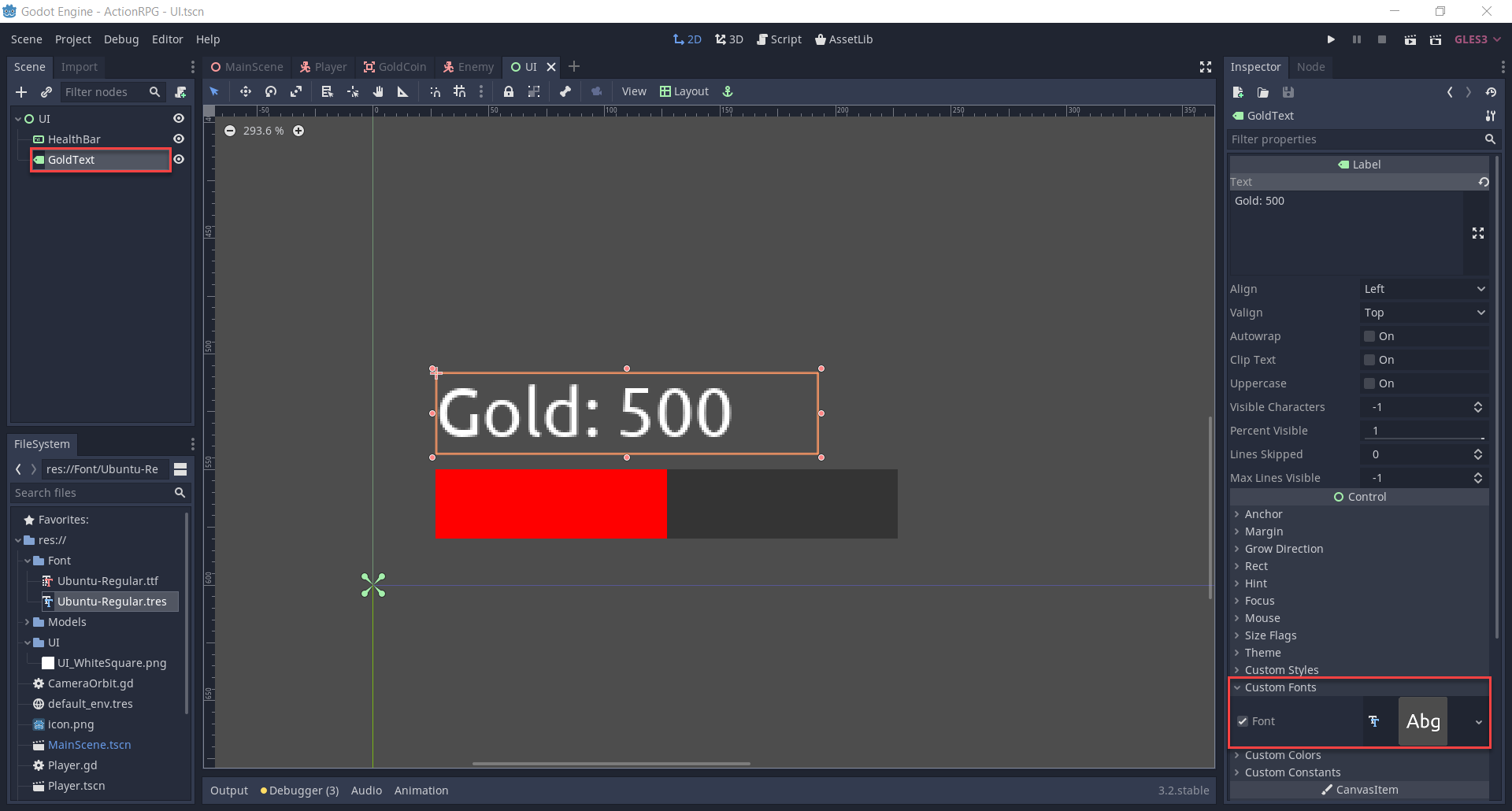 Godot UI text for gold amount