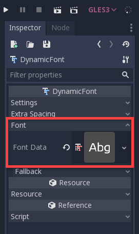 Godot with custom font selected in the Inspector