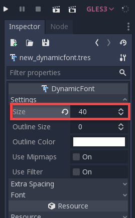 Godot with font size changed with 40 in Inspector