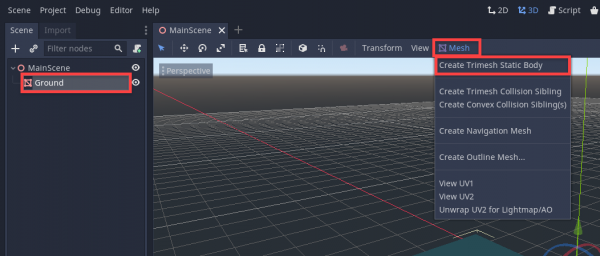 Godot Mesh menu with Create Trimesh Static Body selected