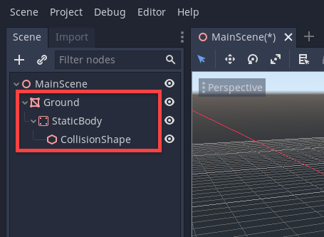 Ground object in Godot with a StaticBody