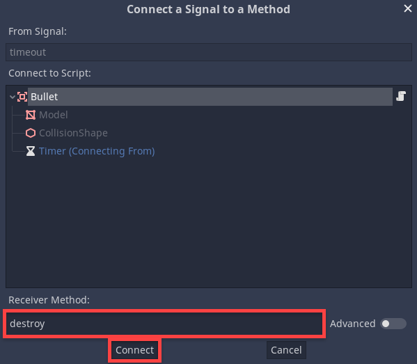 Connect a Signal to a Method window in Godot for FPS bullet