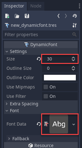 Godot Inspector for Dynamic Font
