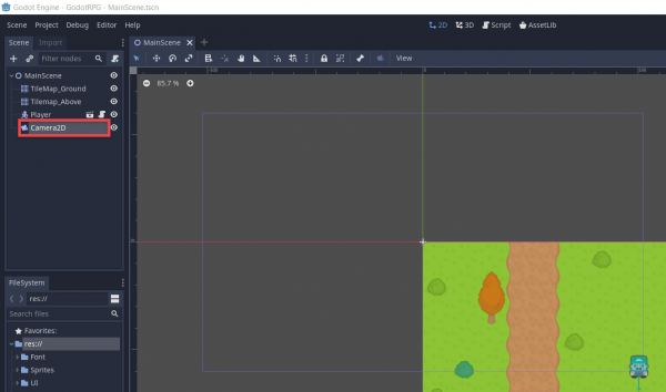 Camera2D node added to Godot RPG project