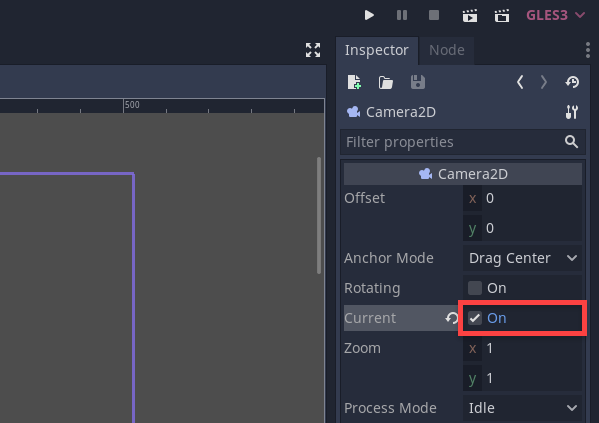 GOdot Inspector with Current checked for Camera2D