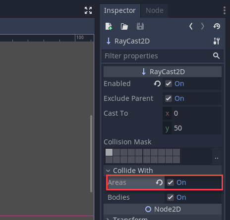 Godot Inspector with Areas checked for RayCast 2D
