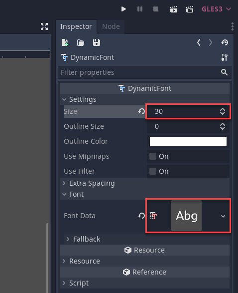Godot Inspector with DynamicFont properties displayed