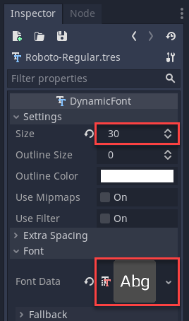 Dynamic font changing the size and setting the font data.