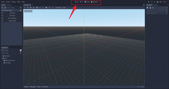Godot Editor with various view options highlighted