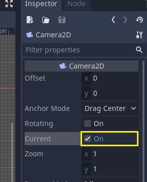 Godot Inspector with Current ticked to On for Camera2D