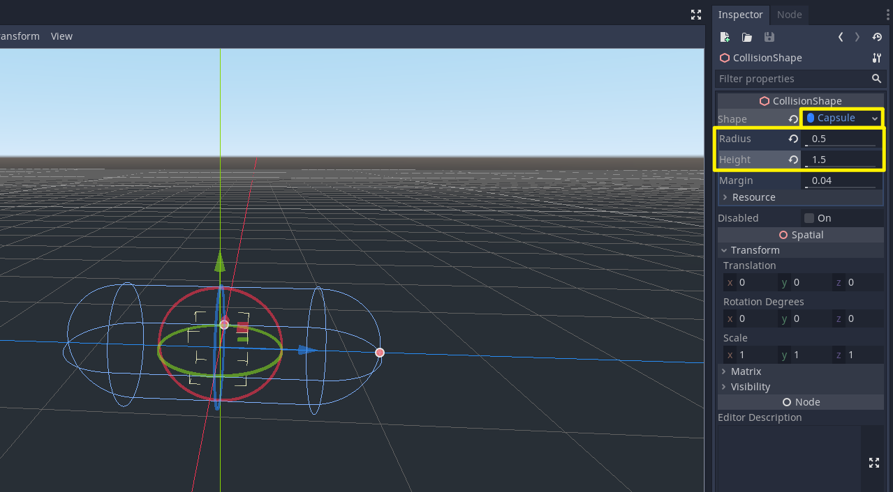 Godot with Capsule CollisionShape added