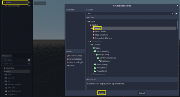 Godot Create New Node window with Camera selected