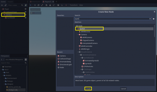 Godot create new node window with spatial selected