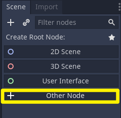 Godot Scene tab with Other Node selected