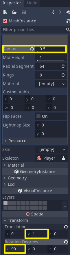 Godot Inspector for player mesh object