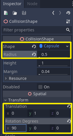 Player with CollisionShape options in Inspector