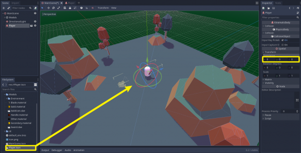 Godot game project with Player scene added to game scene