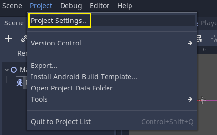 Project menu in Godot with Project Settings selected