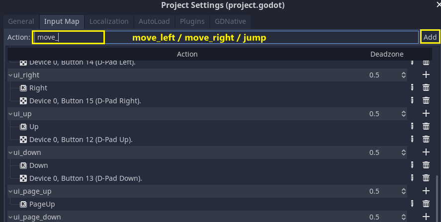 Input Map in Godot with new move being added