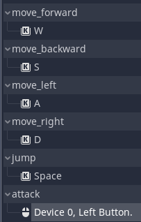 Final movement set up in Godot Input Map